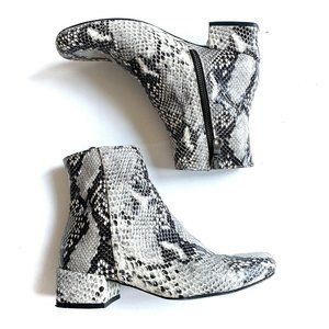 Modern Vice Snake Ankle Boots Black White 5